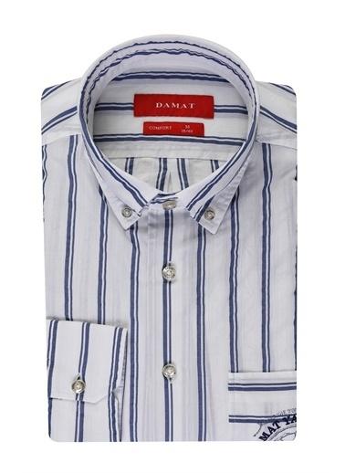 Damat Comfort Çizgili Gömlek Mavi